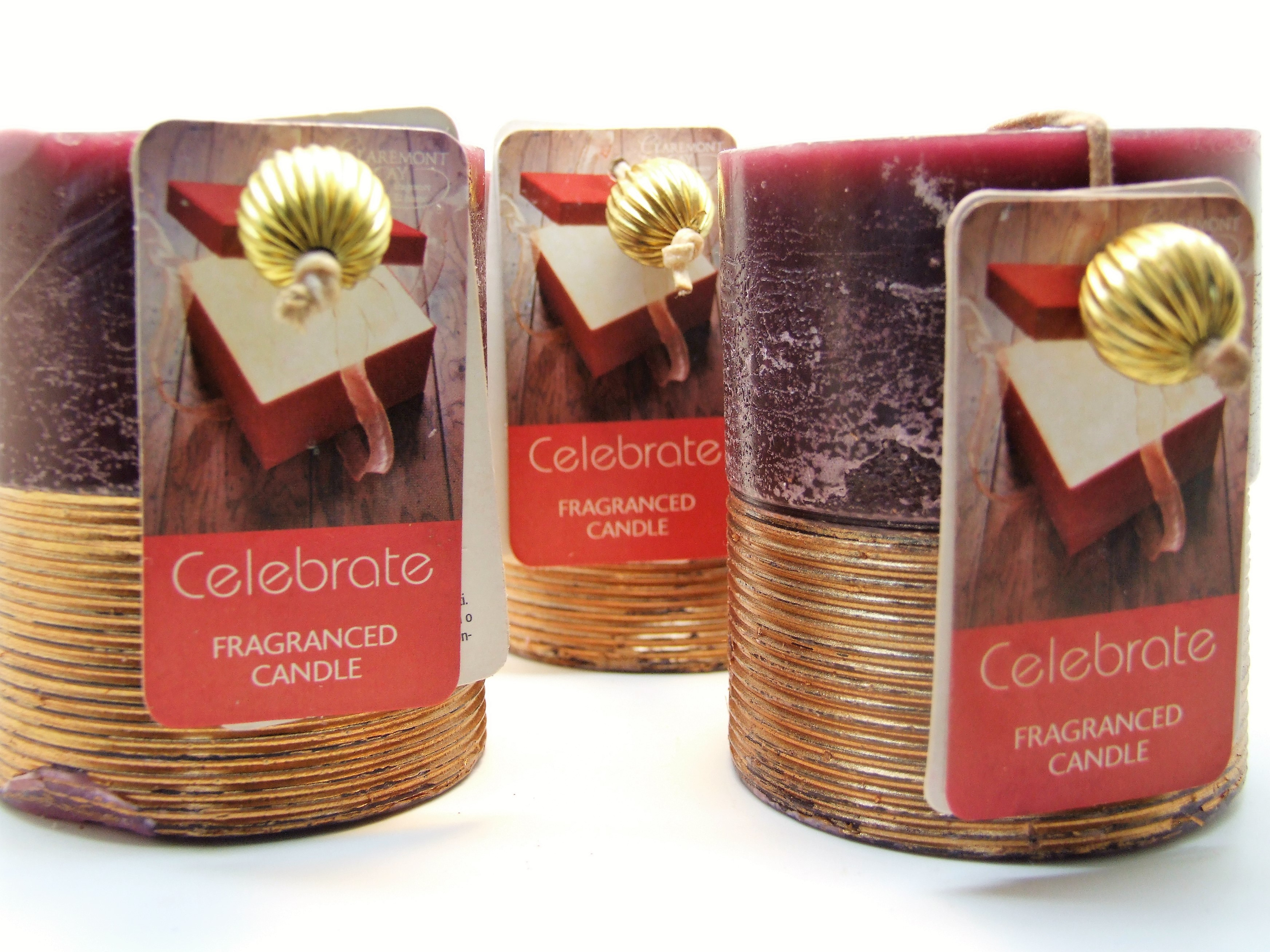 3 Gold Spun Candles: Celebration